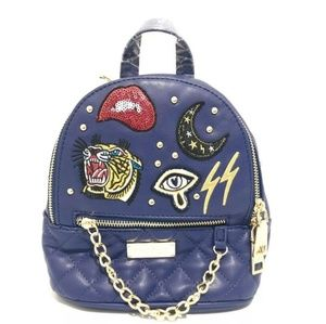 bebe Navy Quilted MINI Backpack with Patches NWT